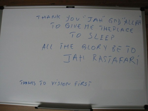 A note on the shelter's board