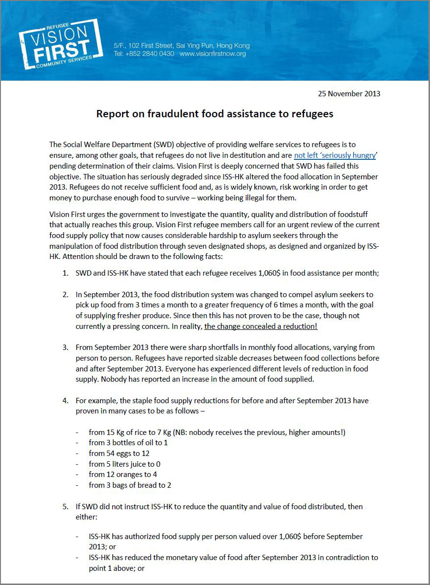 Report on fraudulent food assistance to refugees - 25Nov2013