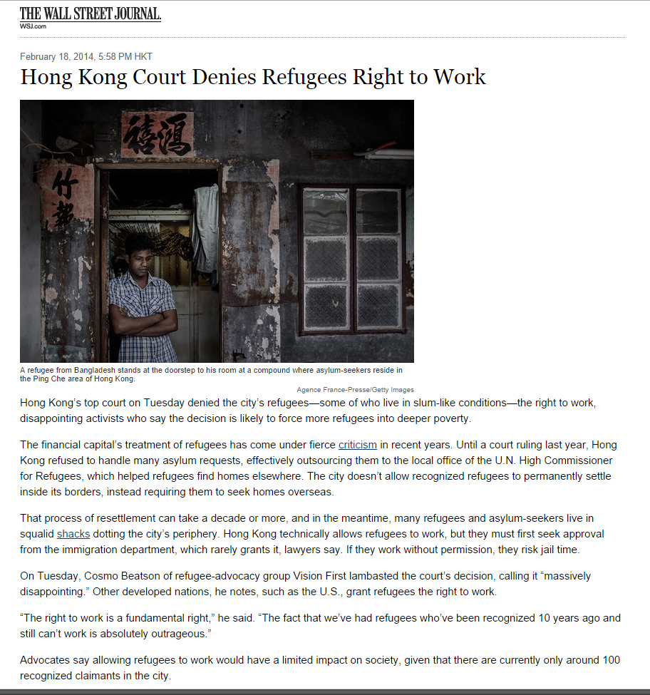 Wall Street Journal - Hong Kong court denies refugees right to work