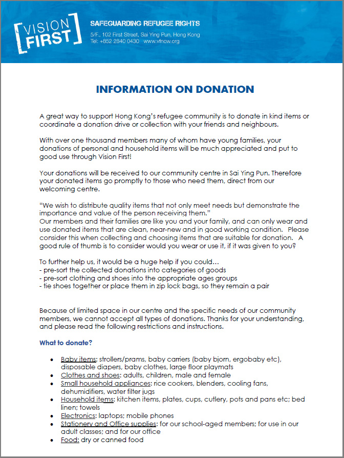 Information on donations