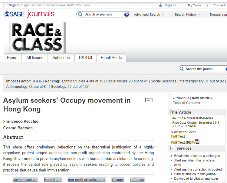 Race and Class - Asylum seekers' Occupy movement in Hong Kong