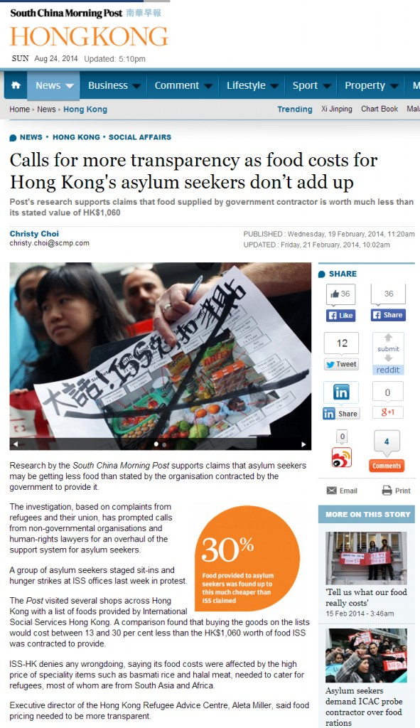 SCMP - Calls for more transparency as food costs for Hong Kong's asylum seekers don't add up