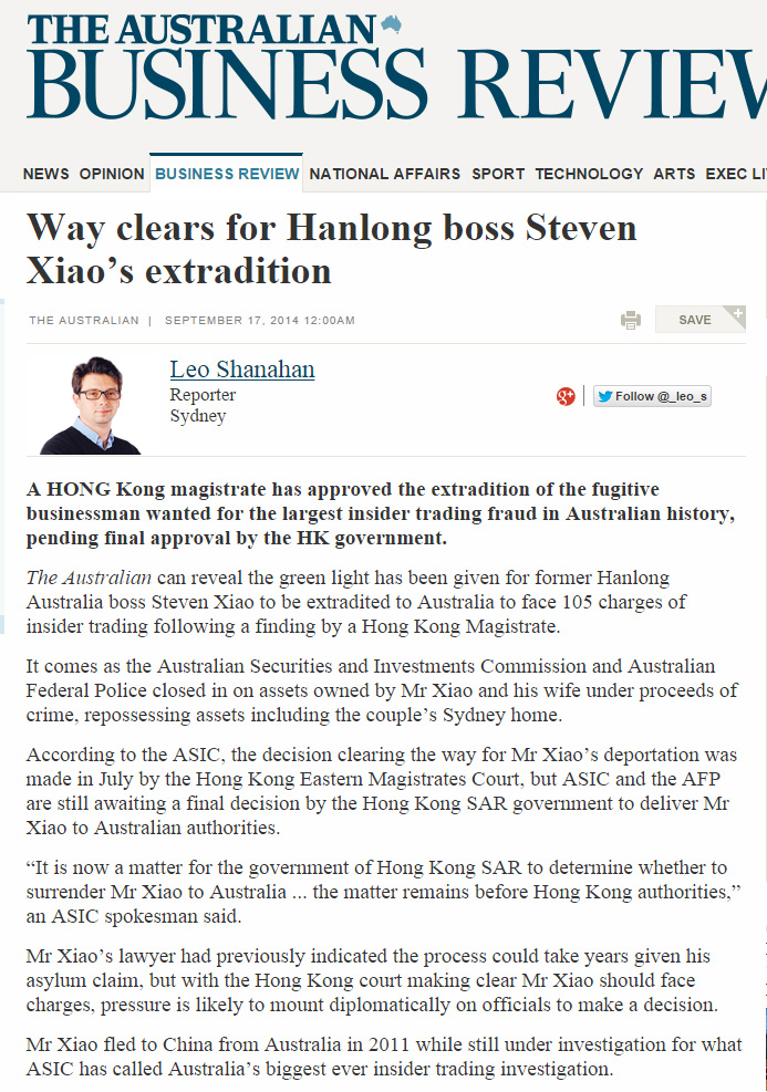The Australian - Way clears for Hanlong boss' extradition
