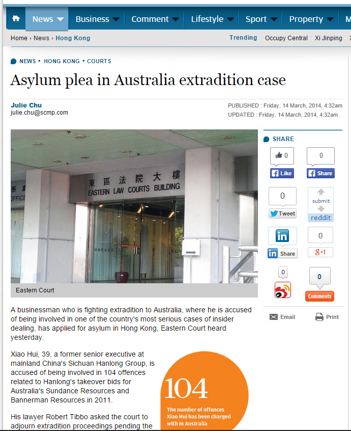 SCMP - Asylum plea in Australia extradition case