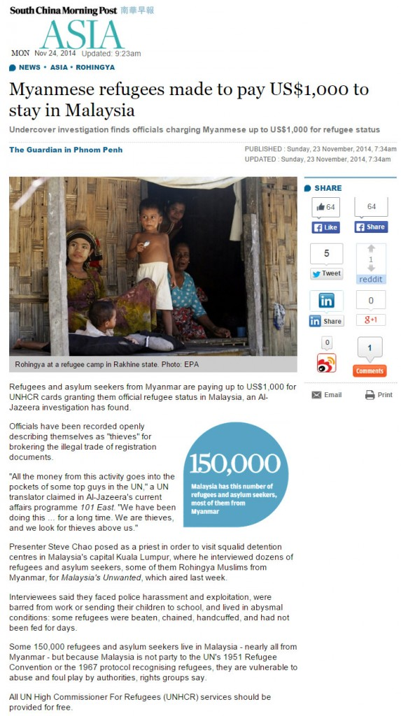 SCMP - Myanmese refugees pay UNHCR for status
