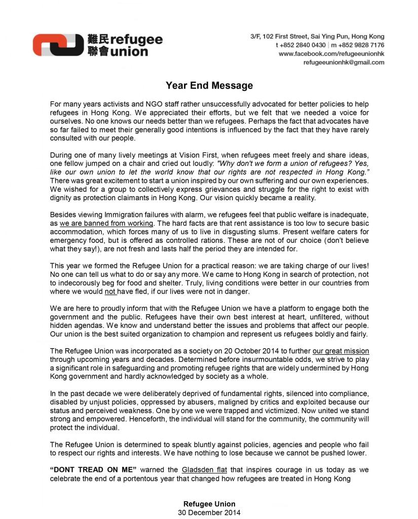 RU year end message - 30Dec2014