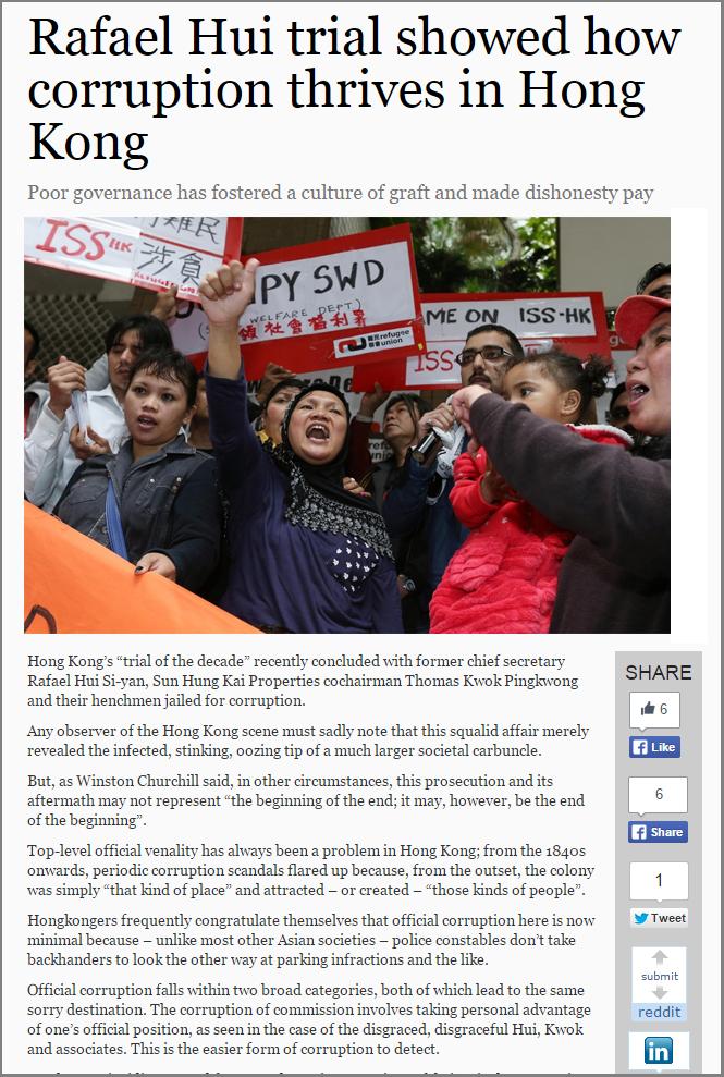 SCMP - Corruption thrives in Hong Kong