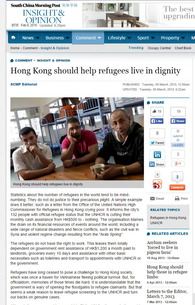 SCMP - Hong Kong should help refugees live in dignity - 3Mar2013