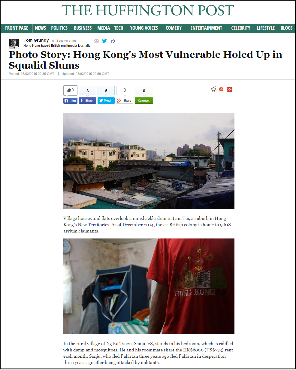 Huffington Post - HK's most vulnerable holed up in squalid slums (29Mar2015)