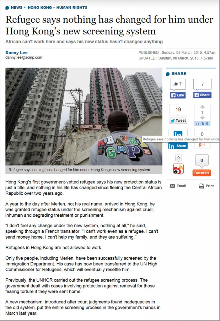 SCMP - Refugee says nothing has changed - 8Mar2015