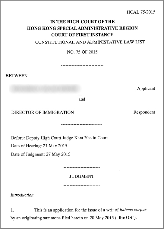 High Court Judgment - habeas corpus- 27May15