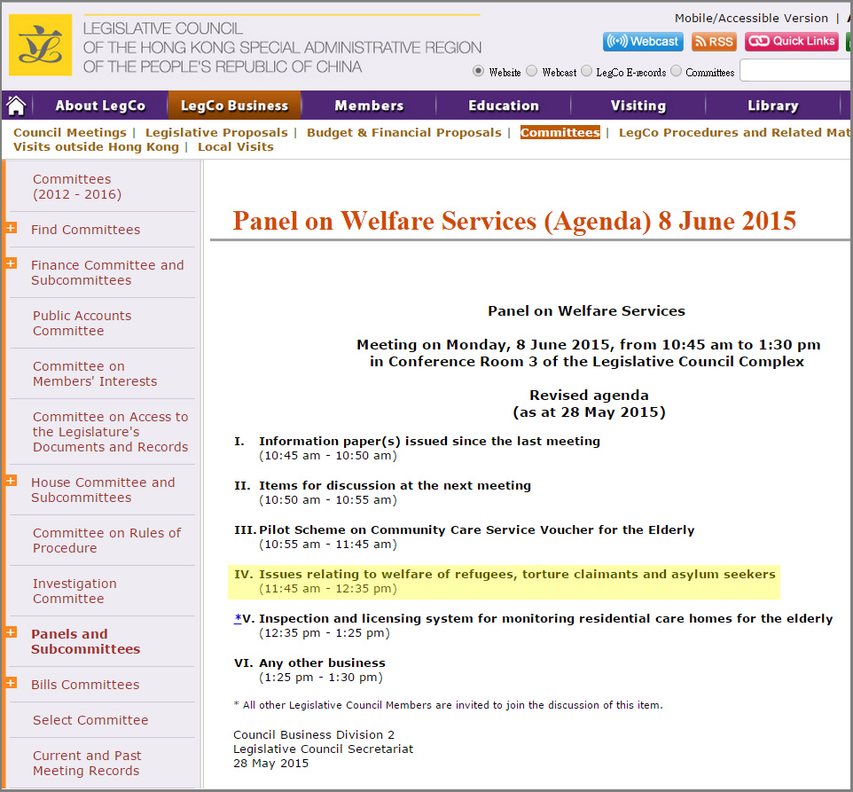 Legco - Panel on Welfare Services - 8Jun2015