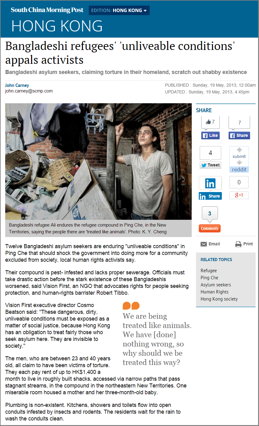 SCMP - Activists deplore conditions in compound (19May2013)
