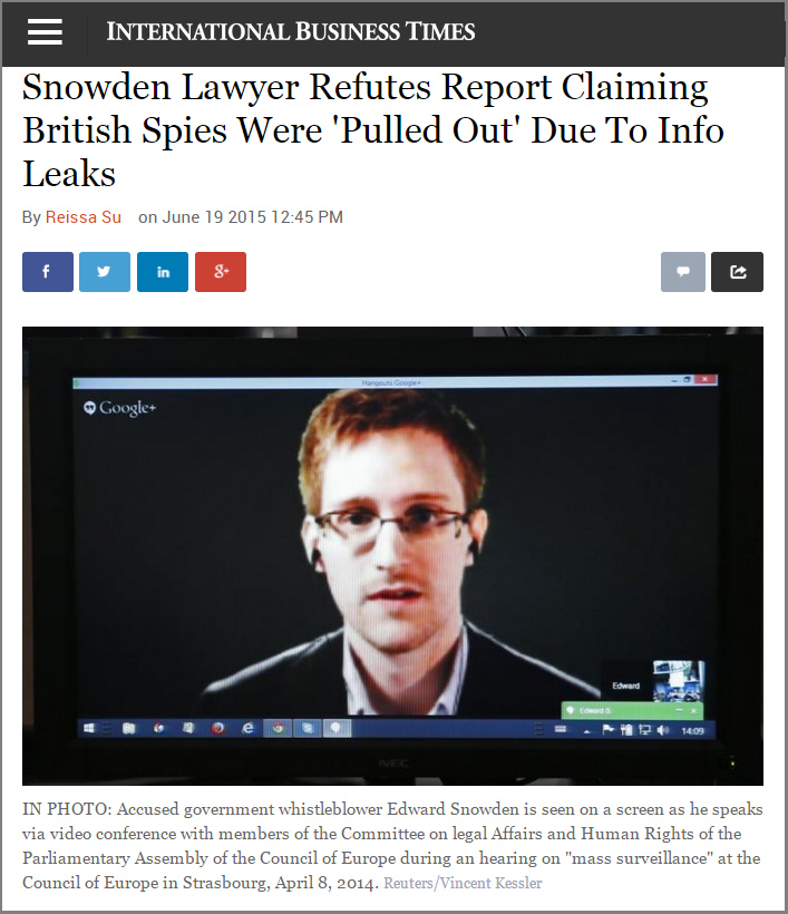 Snowden Lawyer Refutes Report Claiming British Spies Were 'Pulled Out' Due To Info Leaks