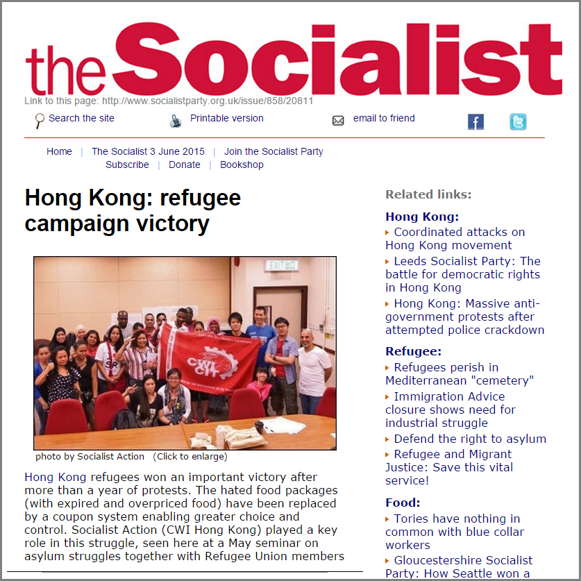 The Socialist - Hong Kong refugee campaign victory