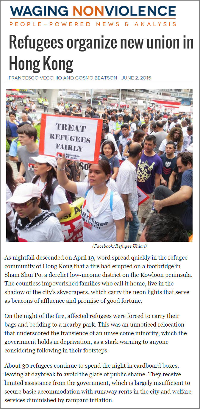 Waging nonviolence - Refugees organize new union in Hong Kong