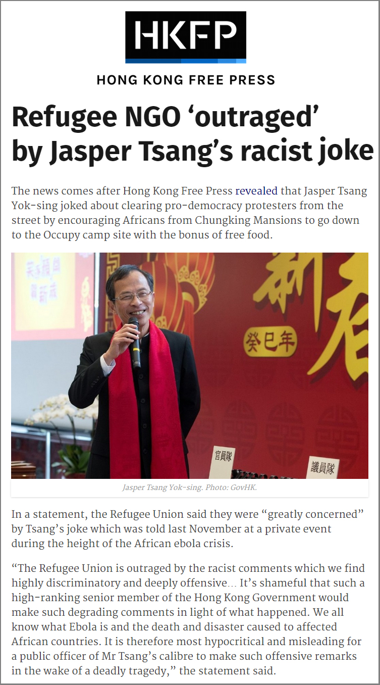 HKFP - Refugee Union outraged by Jasper Tsang's racists joke