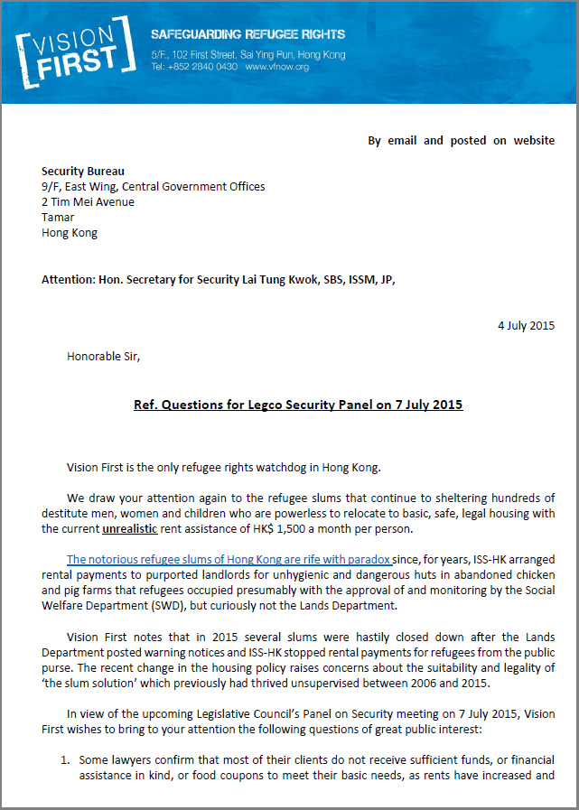 Letter to Security Bureau on Legco Security Panel - 4Jul2015