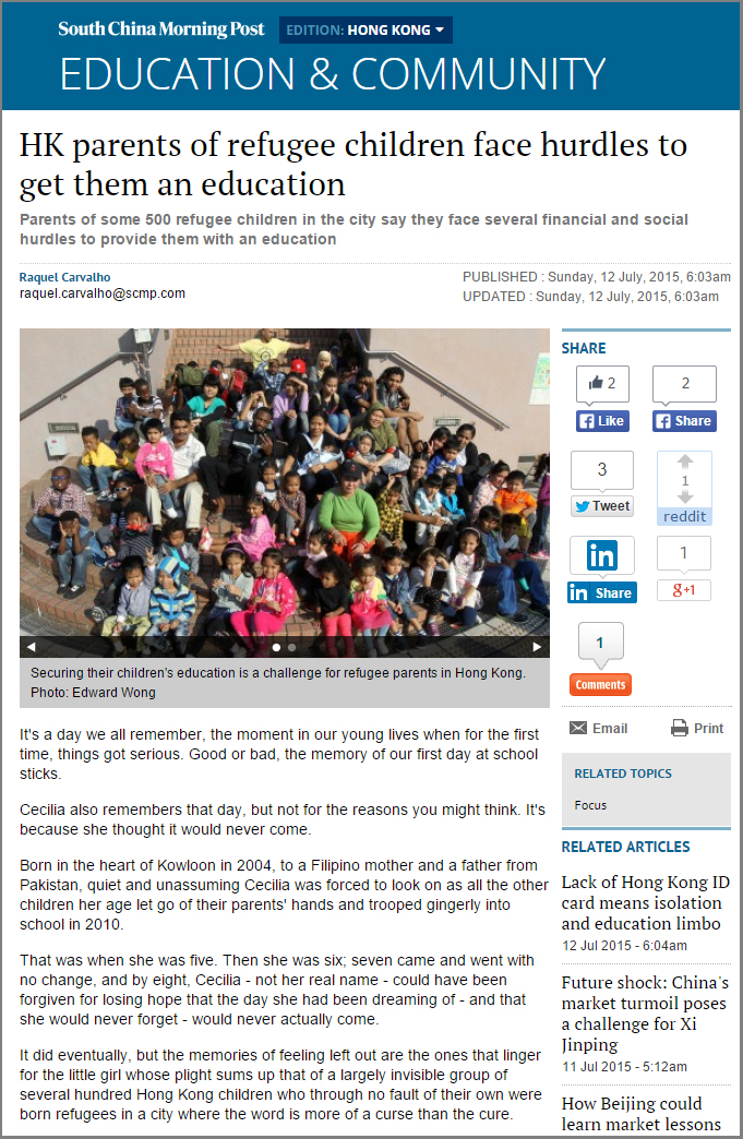 SCMP - HK parents of refugee children face hurdles to get them an education (12Jul2015)