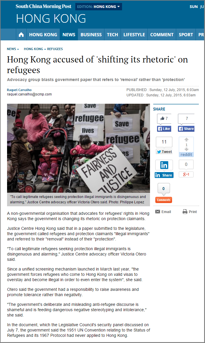 SCMP - Hong Kong accused of shifting its rhetoric on refugees