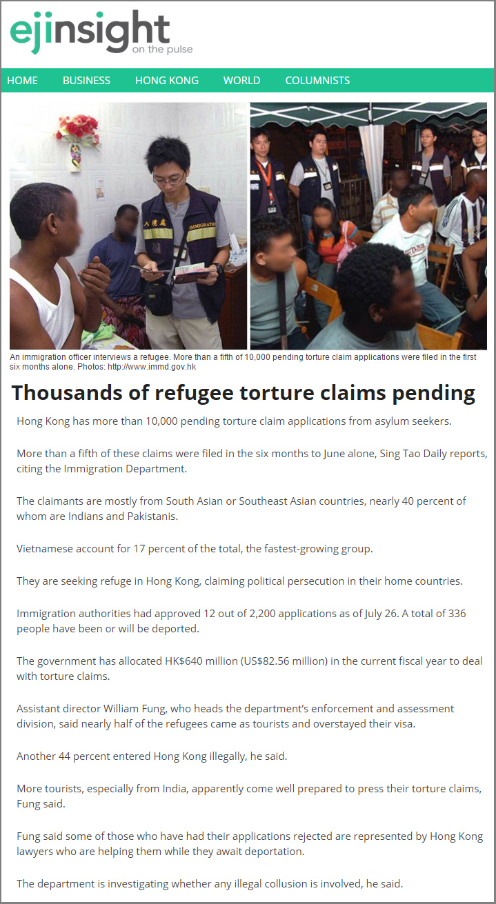 EJInsight - Thousands of refugee torture claims pending