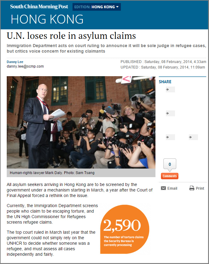 SCMP - UN loses role in asylum claims - 8Feb2014