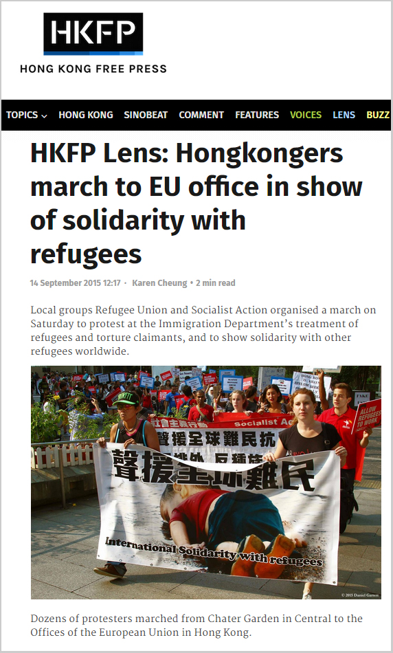 HKFP - Hongkongers march to EU office in show of solidarity with refugees