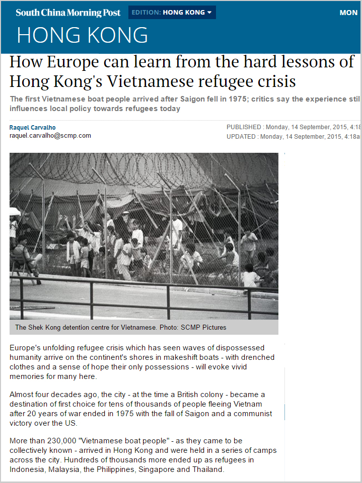 SCMP - How Europe can learn from the hard lessons of HK's Vietnamese refugee crisis
