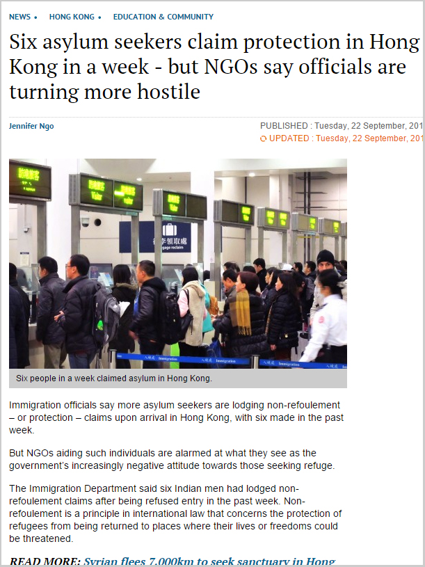 SCMP - Six asylum seekers claim protection in Hong Kong in a week