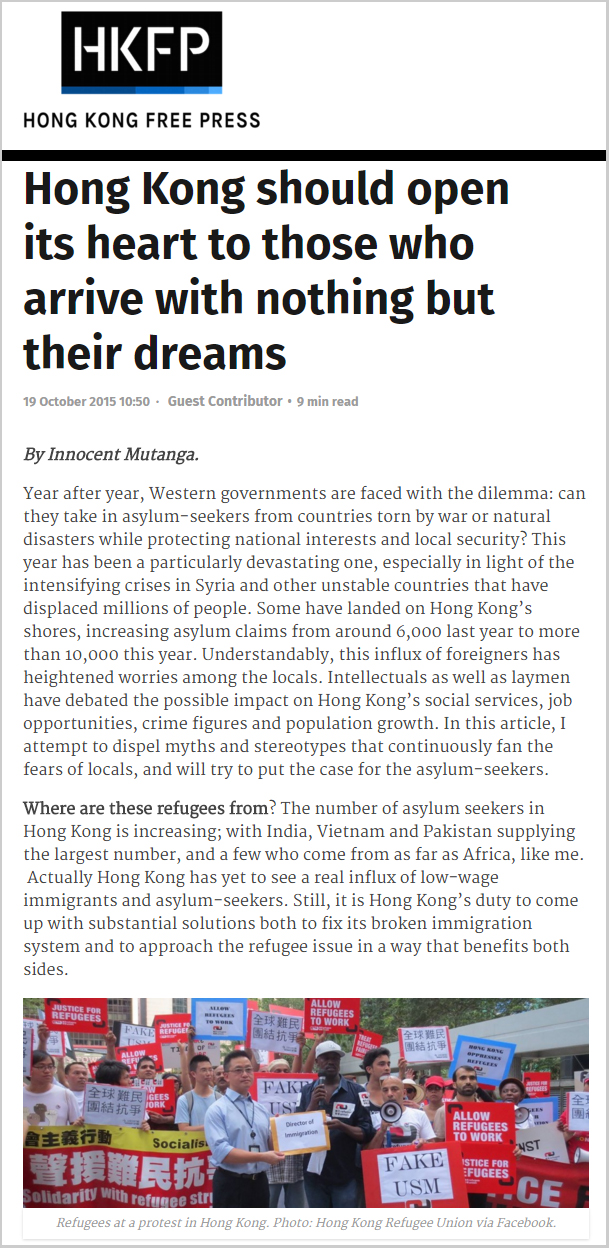 HKFP - Hong Kong should open its heart to those who arrive with nothing but their dreams