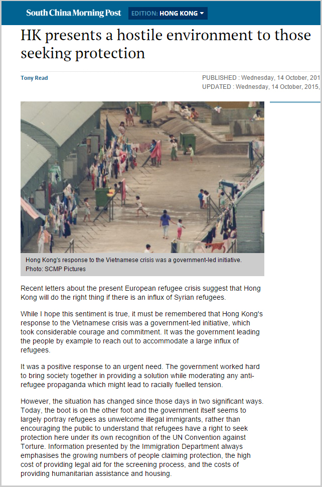 SCMP - HK presents a hostile environment to those seeking protection