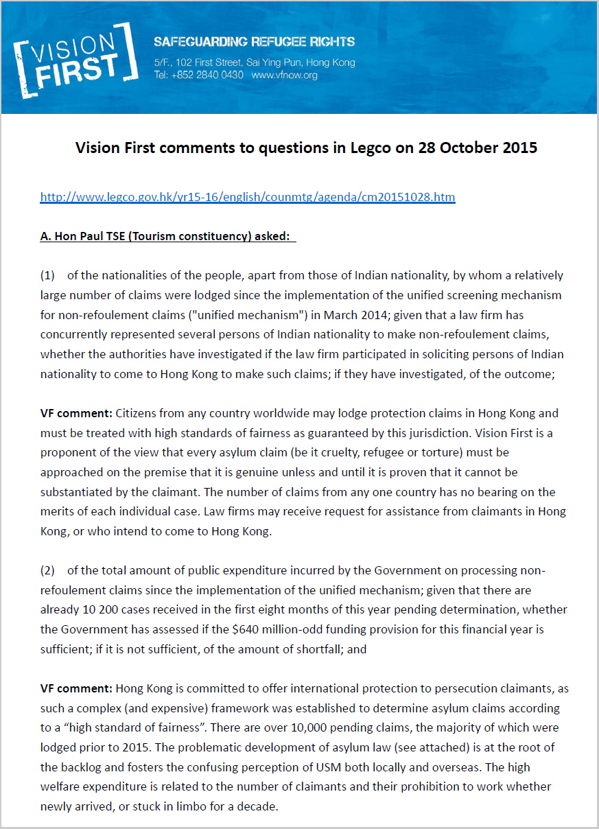 VF comments to Legco questions on 28 Oct 2015