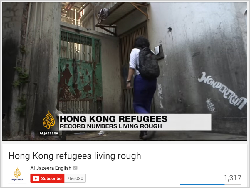 Aljazeera - Hong Kong refugees living rough