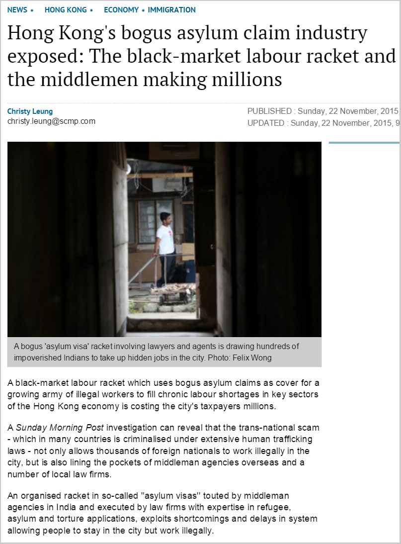 SCMP - The black-market labour racket and the middlemen making millions