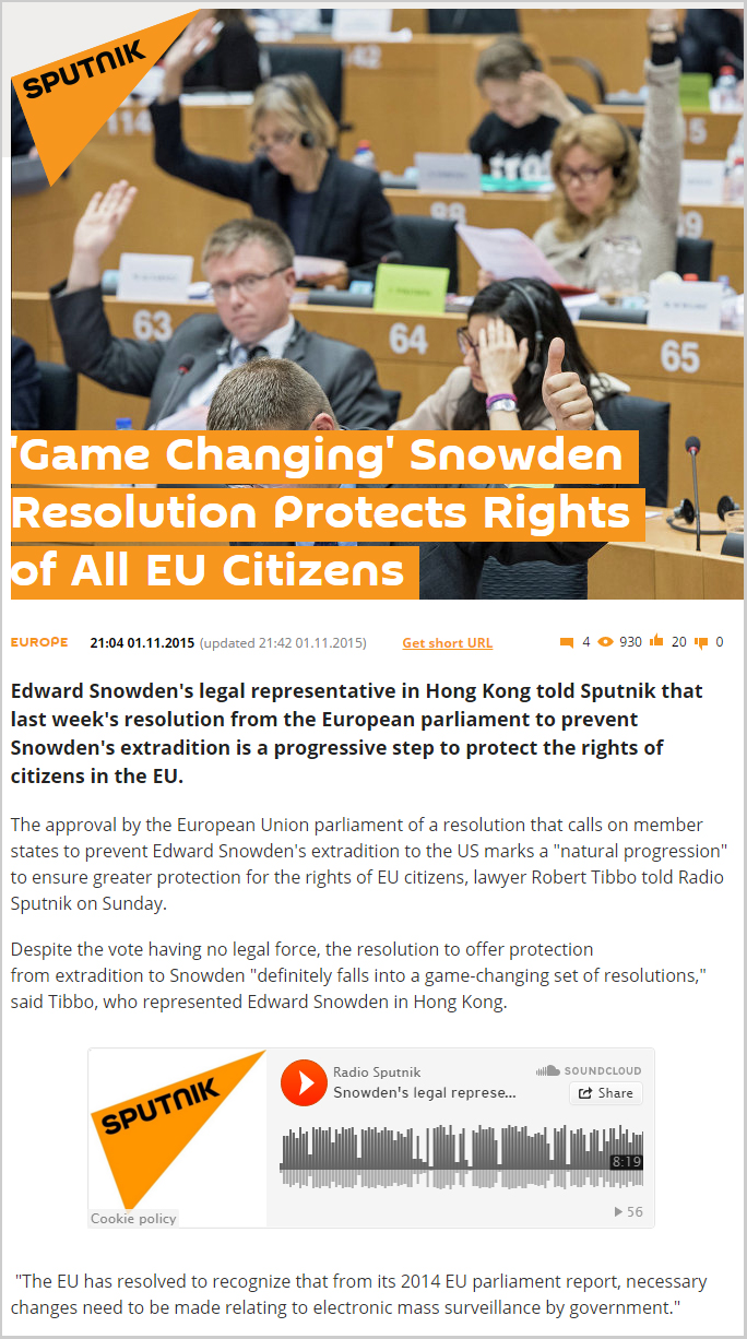 Sputnik - Game Changing Snowden Resolution