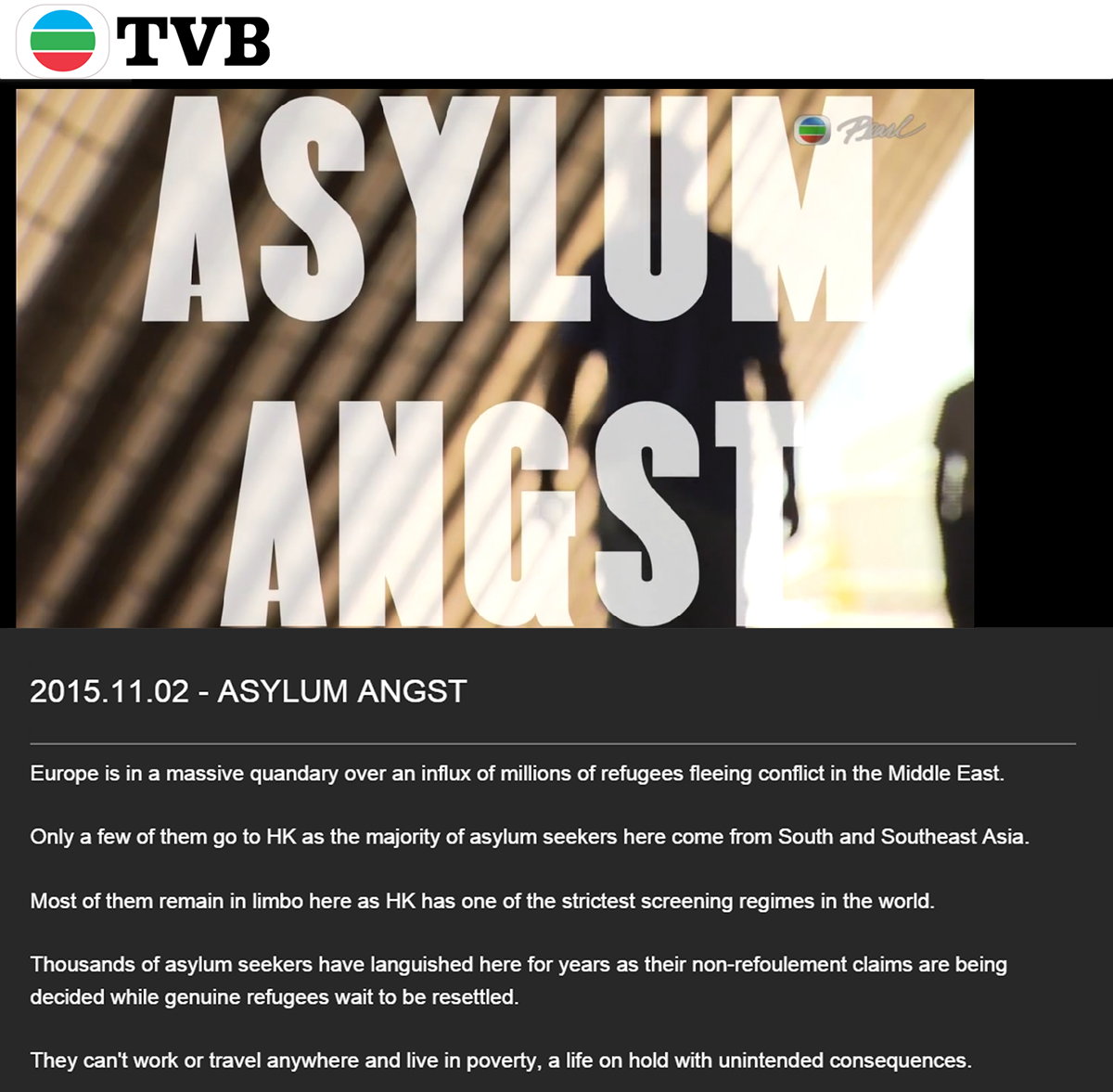TVB - Pearl Report - Asylum Angst (2Nov2015)