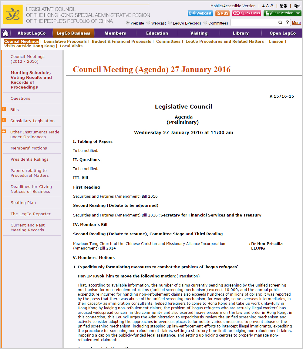 Legco Council Meeting 27Jan2016