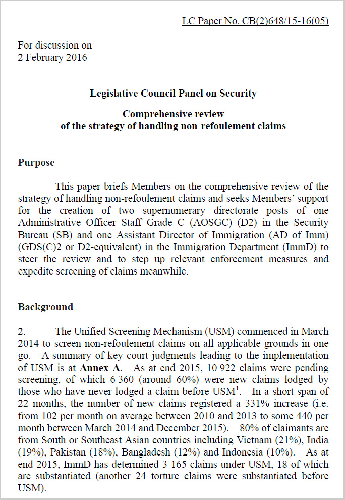 SB submission to Legco - 2 Feb 2016