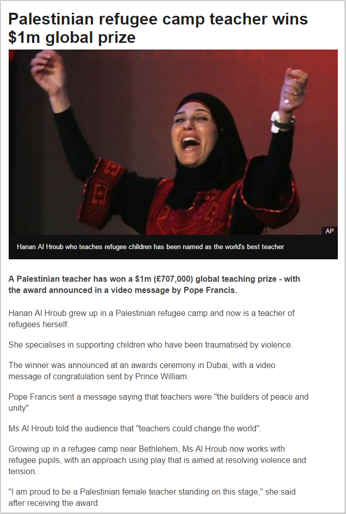 BBC - Palestinian refugee camp teacher wins $1m global prize