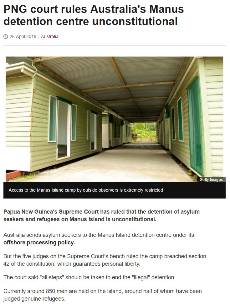 BBC - Court rules Australia's Manus detention centre unconstitutional