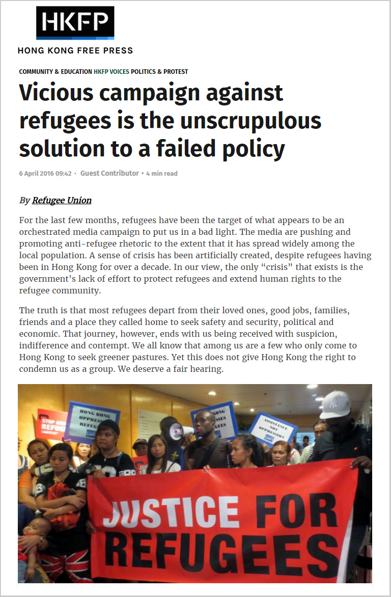 HKFP - Vicious campaign against refugees is the unscrupulous solution to a failed policy