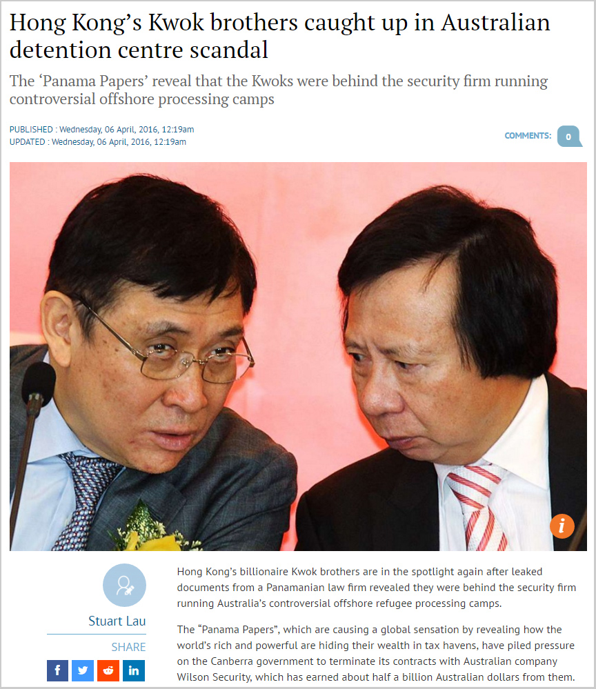 SCMP - Hong Kong's Kwok brothers caught up in Australian detention centre scandal