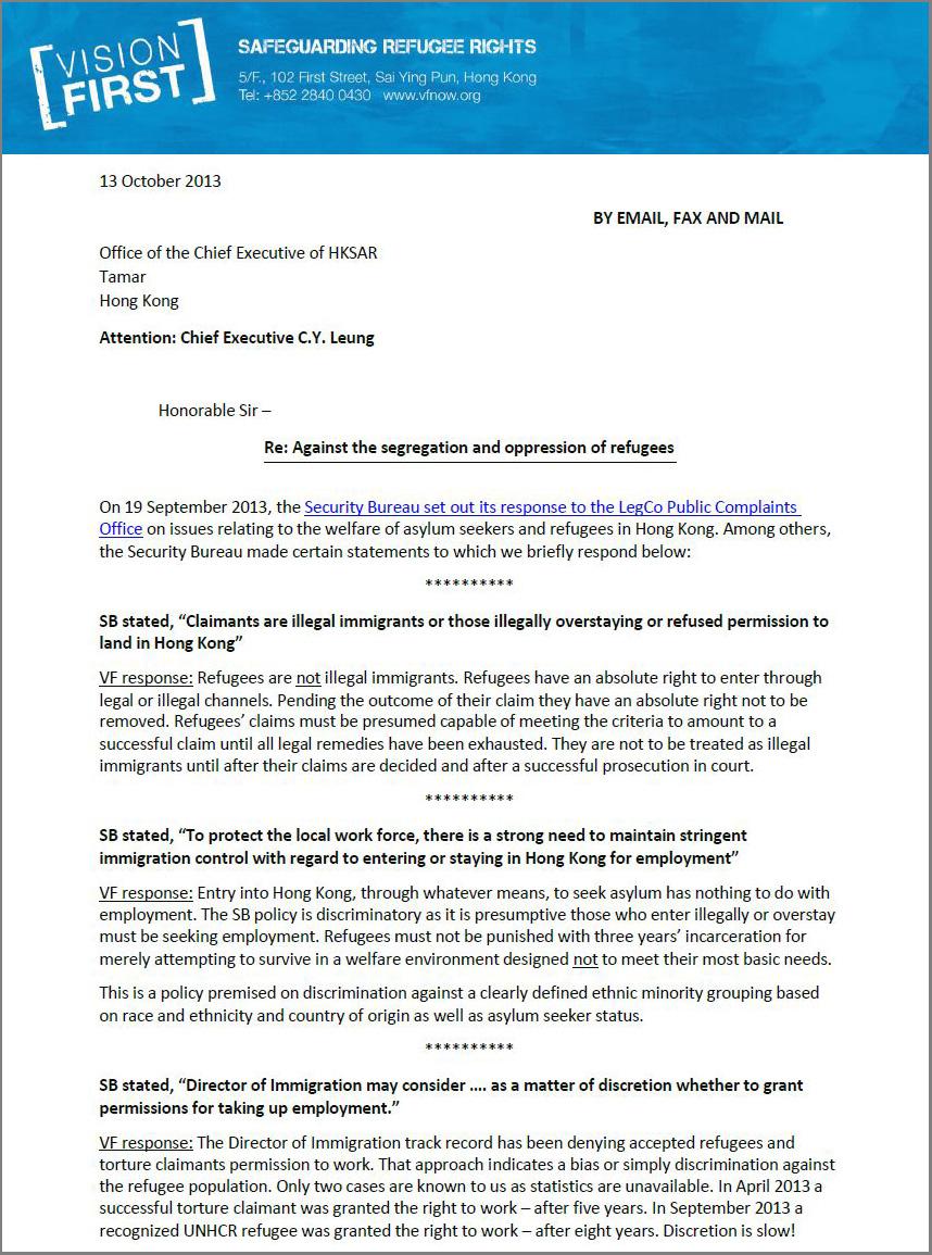 Letter to CE against refugee segregation - 13Oct2013.