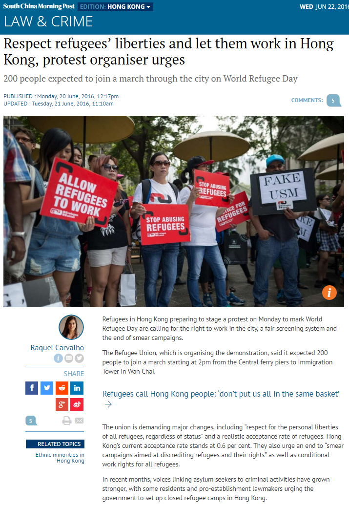 SCMP - Respect refugees' liberties and let them work in Hong Kong, protest organiser urges (20Jun2016)