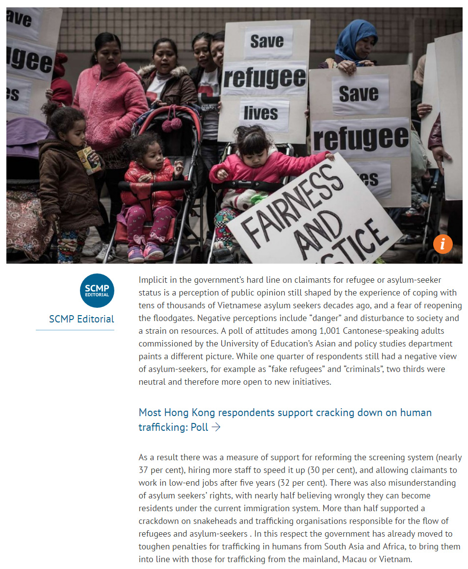 SCMP - Signs of tolerance of refugees