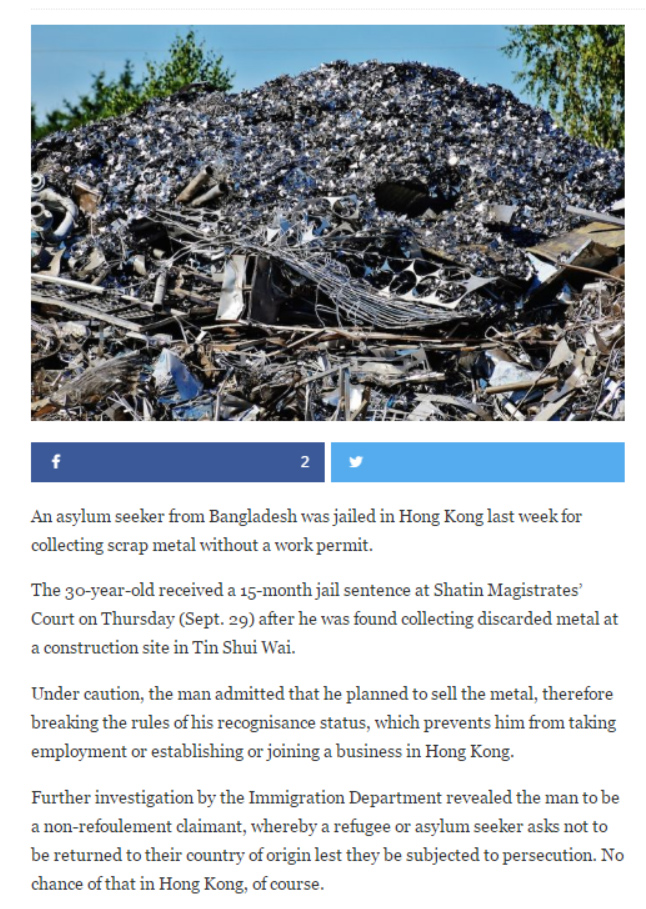 Coconuts - Asylum seeker jailed for collecting scrap metal - 3Oct2016