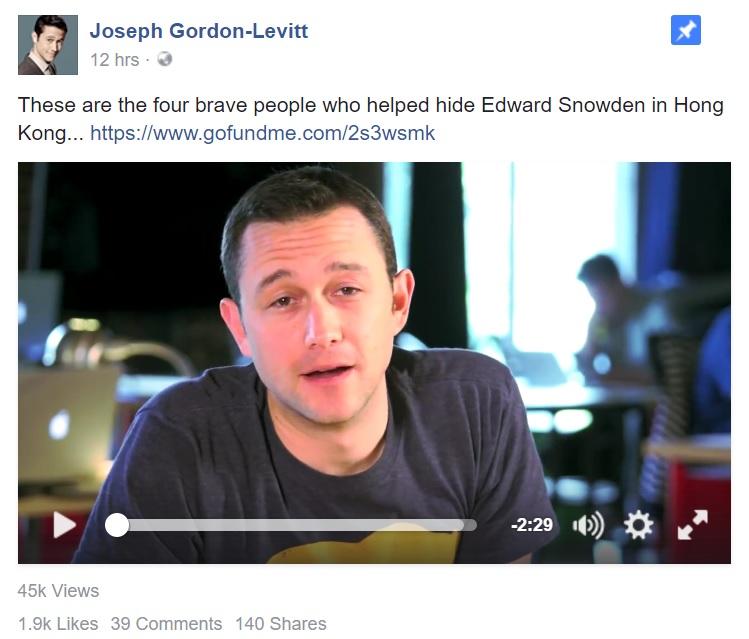 Joseph Gordon-Levitt promotes Gofundme