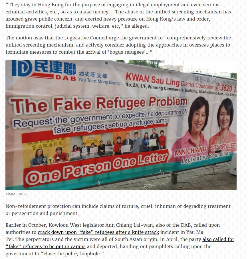 HKFP - lawmaker calls for ban on fake refugees - 18Nov2016