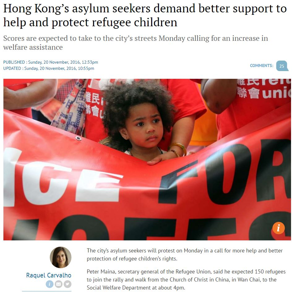 SCMP - Asylum seekers demand support - 20Nov2016
