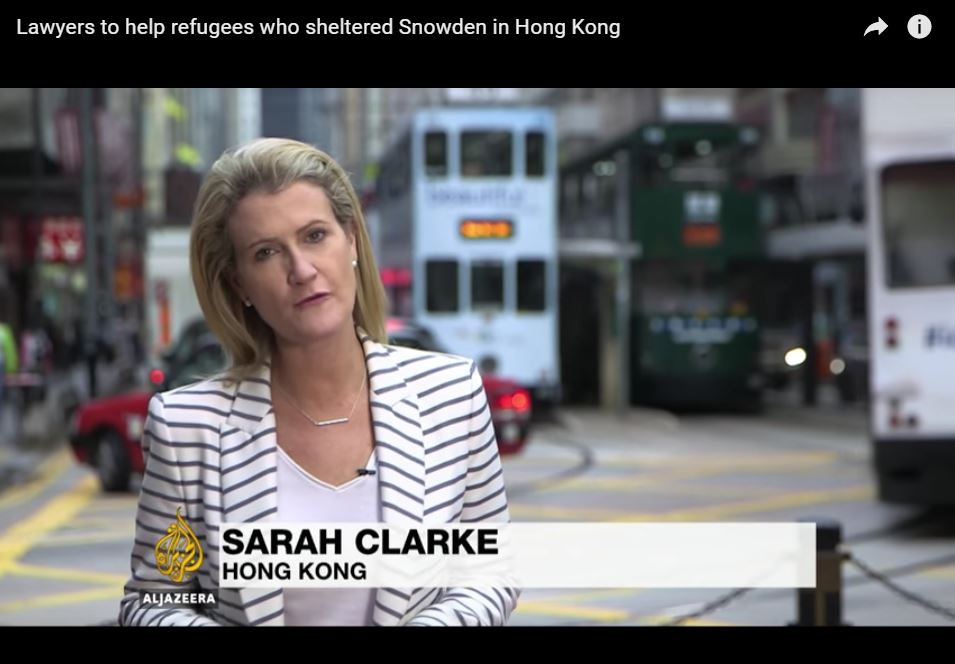 Aljazeera - Lawyers to help refugees who sheltered Snowden in Hong Kong - 19Dec2016
